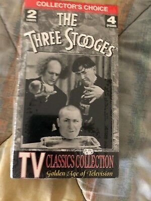 The Three Stooges Two Tape VHS Video Movie Television Classics 4 Episodes Sealed