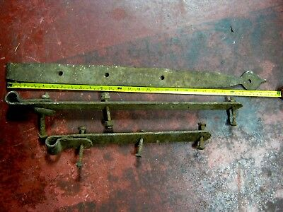 Antique large iron Strap Hinges Vintage Hardware Hand Forged (3) USA Americana