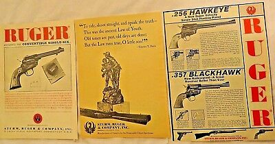 3 STURM RUGER OLD Magazine Ads Convertible Single-Six, 256 Hawkeye 357 Blackhawk