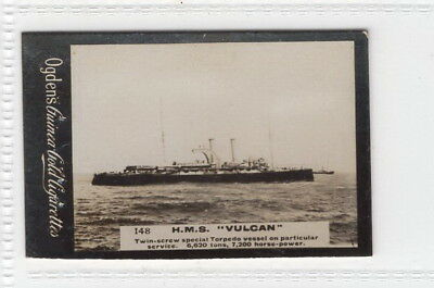 Vintage 1901 Photograph Card of the H.M.S. VULCAN torpedo boat depot ship