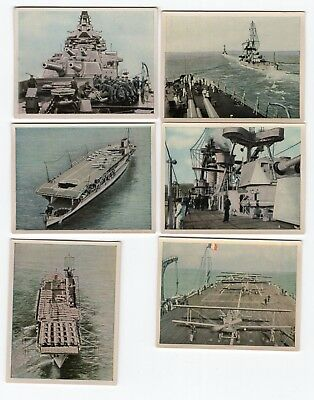 Six Vintage Naval Craft Military Cards from 1934 USA UK FRANCE ITALY