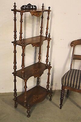 Antique English Wotnot 4 tier shelves stand 1880 bookshelves ornate marquetry