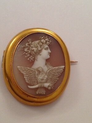 Antique Victorian 15ct Gold Mounted Carved Shell Cameo Brooch - Circa 1880