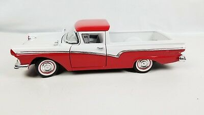 Road Legends 1957 Ford Ranchero Red White 1:18 Diecast Collectible Pickup Truck