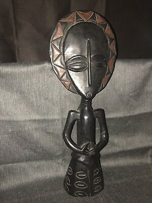 Vintage Carved Wood Statue Figurine Tribal Decor African Art Hand Made In Ghana