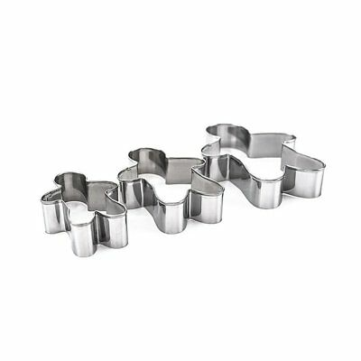 3PCS Stainless Steel Gingerbread Man Cookie Moulds Durable Fondant Cutters QR