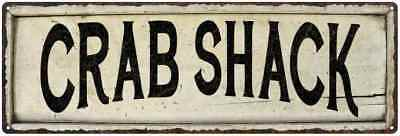 CRAB SHACK Farmhouse Style Wood Look Sign Gift   Metal Decor 106180028137