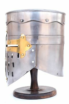 MEDIEVAL KNIGHT TEMPLAR CRUSADER Middle Ages Two Tone Steel HELMET ARMOR ROMAN