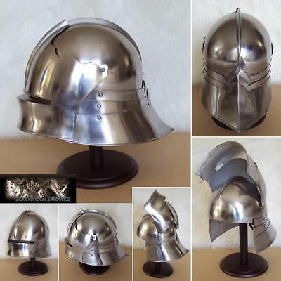 Medieval German Helmet European Closehelm Collectibl Armour Costume with stand