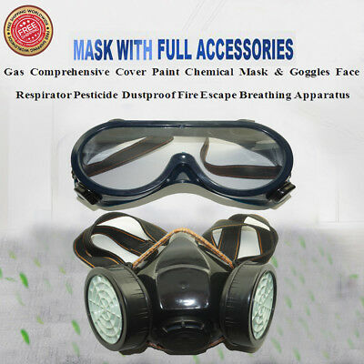 Professional Full Face Respirator Gas Mask & Goggles Chemical Dust Spray Paint