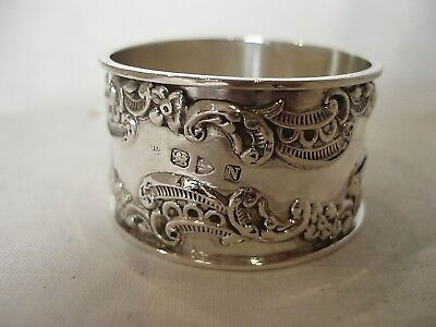 Raised Scroll Work Napkin Ring Victorian Sterling Silver Chester 1896