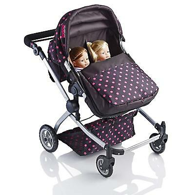 Pink Dolls Double Buggy Twin Babies Toy Pram Girl Sturdy Light Weight Pushchair
