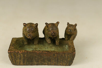 ancient bronze hand carved 3 pig statue collectable