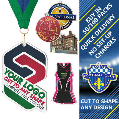 50x SPEEDWAY CLUB CUSTOM LOGO PRINTED 50mm ACRYLIC MEDALS & RIBBONS CUT TO SHAPE