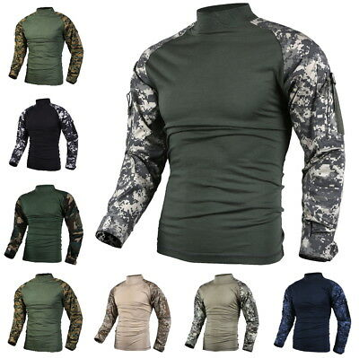 Mens Military Battle Combat Tactical Hunting Game Pullover Shirt Top