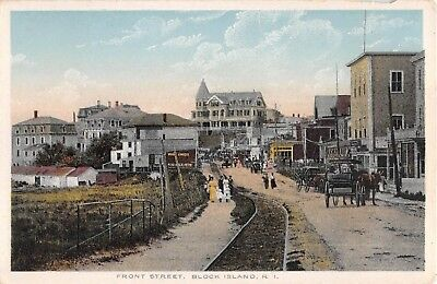 c.1910 Stores Hotels Front St. Block Island RI post card