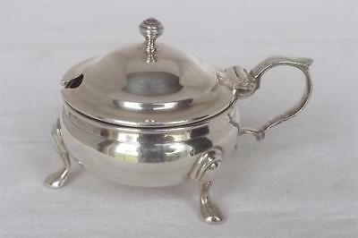 A Superb Large Solid Sterling Silver Mustard Pot & Glass Liner Dates 1957.