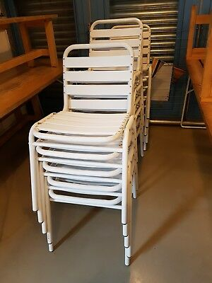 Used Metal Café Chairs in White