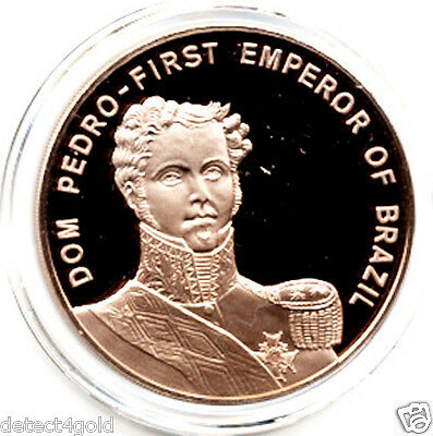 Dom Pedro 1st Emperor of Brazil Brazilian Independence Proof Bronze Coin Medal