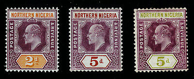 NORTHERN NIGERIA #12 #14 #33 Mint Hinged EDWARD VII Three Different