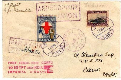 Greece. First Flight Imperial Airways Corfu-Alexandria 17/20-5-1931 With Arrival