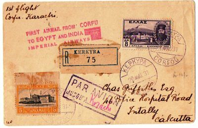 Greece. 1St  Flight Imperial Airways  Cover Corfu-Karachi 20-5-1931 With Arrival