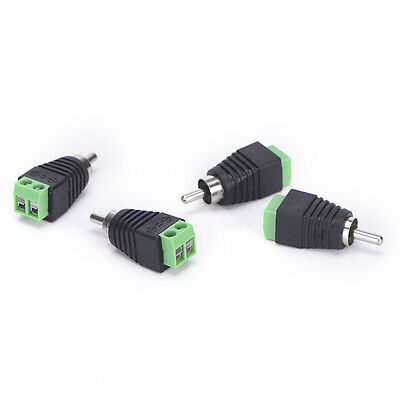 4 pcs Speaker Wire cable to Audio Male RCA Connector Adapter Jack Plug  LO
