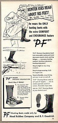 1952 Vintage Ad PF Hunting Boots Hood Rubber Co BF Goodrich