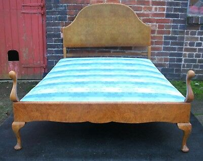 Good open airy Art Deco standard double bed burr walnut and base.