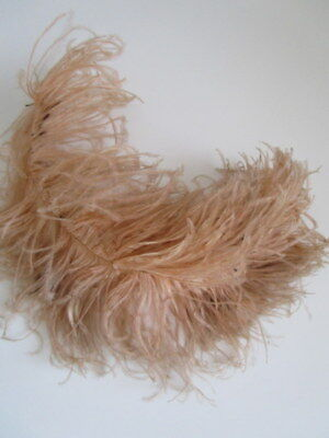 "Antique Champagne Pink 13"" OSTRICH Feather PLUME Full Frilly French Millinery"