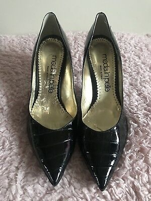 34fdef694c8c MODA IN PELLE Black Patent Snakeskin Court Shoes Size 6 (39) - £0.99 ...