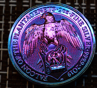 2019 Great Britain 2 oz Silver Queen's Beasts The Falcon Rainbow Toned / Toning