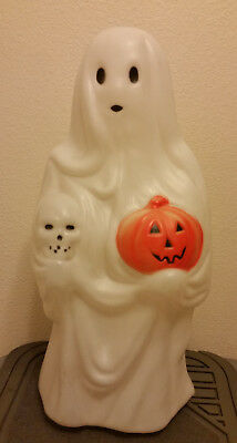 "Empire Blow Mold GHOST w/ Jack O Lantern Pumpkin & Skull 23"" yard decor no cord"