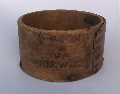 Antique Vintage Rustic Decor Victorian Wooden Half Pint Measure Norwich