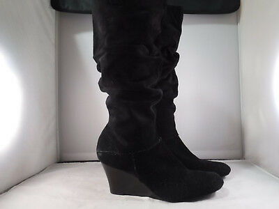 ffe53627dc23 PM3 Arturo Chiang Knee High Slouch Wedge Boots Women s 9.5 Black Suede  Leather