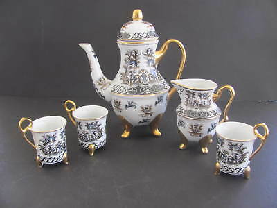 Royal Satsuma Oriental Birds And Floral Coffee Pot / Teapot, Cups And Creamer