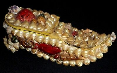 """Antique Shell Art """"sailors Valentine"""" Box In The Shape Of A Shoe*made In France"""