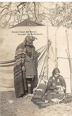 E47/ Native American Indian Real Photo RPPC Postcard 1909 Martin Chief Family 17