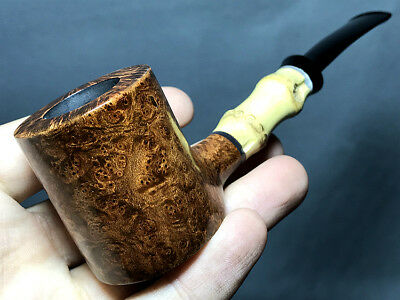 Road Town Bamboo Poker Style Briar wood craft pipe ---- unsmoked