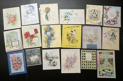 1940s-1960s Vintage Lot of 33 used Happy Birthday & Best Wishes Greeting Cards