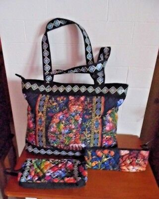 b8aa61bdc2 Bradford Exhange Tapestry Cat Zipper Tote Bag With Cosmetic Case & Pencil  Case