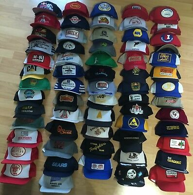Lot of 64 Older Trucker Snapback * Mesh Backs * Turbo, Sears, Molson, Wheat +++