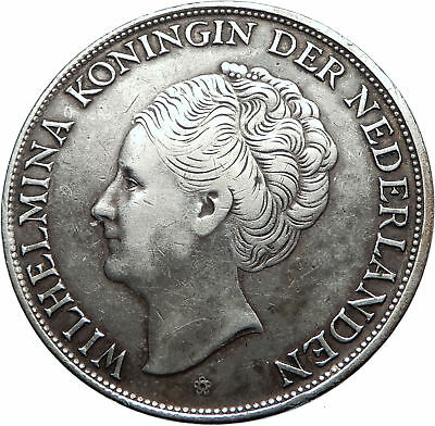 1944 Netherlands Kingdom Queen JULIANA Antique Silver 2 1/2 Gulden Coin i73810