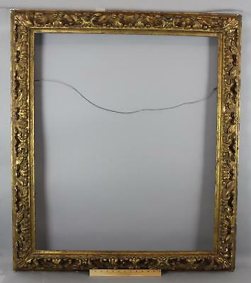 Large Antique Italian Old Master Style Carved & Gilded Wood Oil Painting Frame