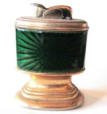 Vintage Mid Century Modern Table Lighter Evans Green Enamel & Brass Stand