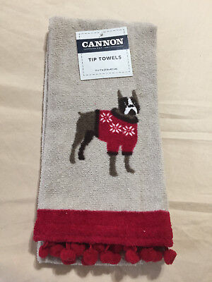 Cannon Tip Towel-Christmas Boxer / Boston Terrier? Dog W/sweater-Fingertip Towel