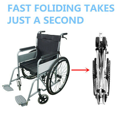 Folding Wheelchair Lightweight Manual Mobility Aid Park Brakes Push Portable AU