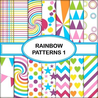 RAINBOW PATTERNS 1 SCRAPBOOK PAPER - 14 x A4 pages