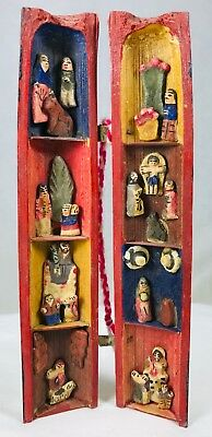 Mini Bamboo Shelf Primitive Colorful Hand Carved Painted Figures Latin America