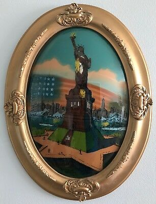 "Antique Statue of Liberty Reverse Painting on Oval Convex Glass Framed 24"" x 19"""